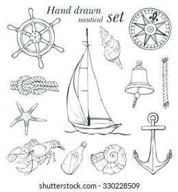 Hand drawn nautical set, vector illustration