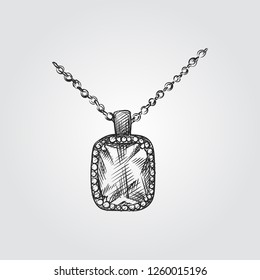 Hand Drawn Necklace with diamond Sketch Symbol isolated on white background. Vector Jewelry In Trendy Style. Necklace hand drawing sketches elements
