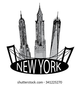 Hand drawn New York famous buildings