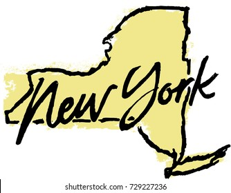 Hand Drawn New York State Graphic
