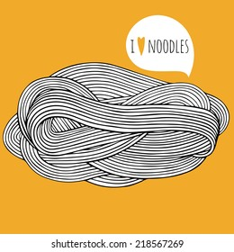 Hand drawn noodle. Doodle vector illustration for kitchen and cafe