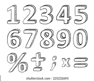 Hand Drawn Numbers and Basic Math Signs, Vector Illustration