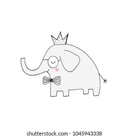 Hand drawn nursery birthday poster with elephant king in scandinavian style. Monochrome kids vector illustration.