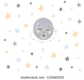 Hand drawn nursery kids poster with cute little stars and moon in scandinavian style with doodles elements in grey yellow monochrome blue color