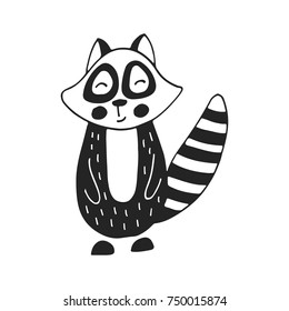 Hand drawn nursery poster with raccoon animal in scandinavian style.Black and white vector illustration.