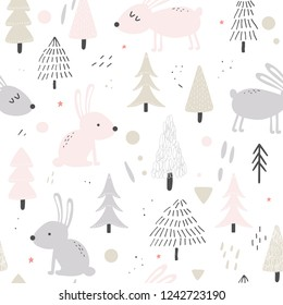 Hand drawn nursery seamless pattern with cute hares in a forest in Scandinavian style. Vector illustration.