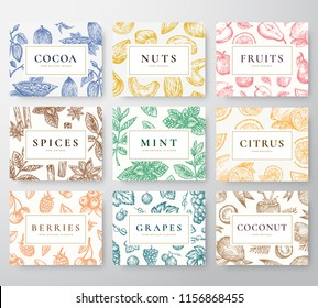 Hand Drawn Nuts, Spices and Berries with Fruits and Coconut Cards Set. Abstract Vector Sketch Backgrounds Collection with Classy Retro Typography. Patterns Collection. Isolated.