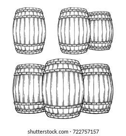 Hand drawn oak barrel illustrations set. Wine, beer or whiskey wooden casks. Vintage engraved style drawing vector.