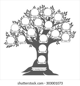 Hand drawn oak tree. Family tree. Vintage style for retro design. Vector illustration.