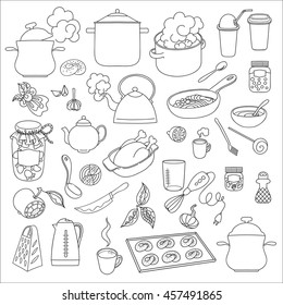 Hand drawn objects food and utensils. Outline.