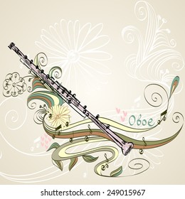 hand drawn oboe on a floral background