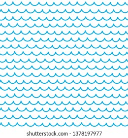 Hand drawn ocean wave pattern. Sea waves doodle background. Seamless wavy patterns.