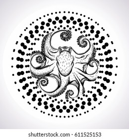 Hand drawn octopus. Sketch of tattoo. Vector isolated illustration. Mandala.
