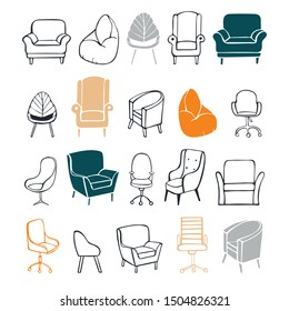 Hand drawn office chairs and armchairs. Vector sketch illustration.