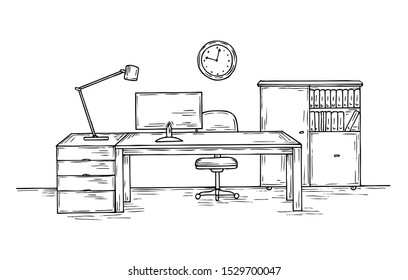 Hand drawn office. Sketch desk with chair computer and lamp. Home officer room interior vector background