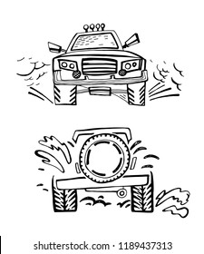 Hand drawn offroad 4x4 car in creative doodle style. Off-road adventure element in black color useful for T-shirt, poster or print design.Editable vector illustration isolated on white background.