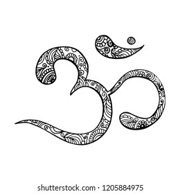 Hand drawn Ohm symbol, indian Diwali spiritual sign Om with high details isolated, illustration in zentangle style.