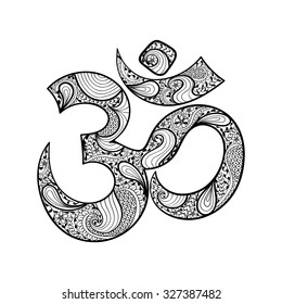 Hand drawn Ohm symbol, indian Diwali spiritual sign Om with high details isolated on white background, illustration in zentangle style. Vector monochrome sketch.