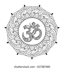 Hand drawn Ohm symbol, indian Diwali spiritual sign Om elegant round Indian Mandala, Rangoli with high details isolated on white background, illustration in zentangle style. Vector monochrome sketch.