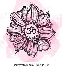 Hand drawn Ohm symbol, indian Diwali spiritual sign Om. Lotus flower around. High detailed decorative vector illustration. Tattoo, yoga, spirituality, textiles.