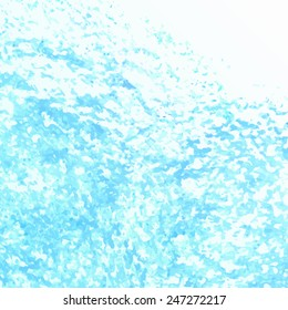 Hand drawn oil pastel textured background. Blue grunge banner for your invitation cards, other designs. Sea motive.