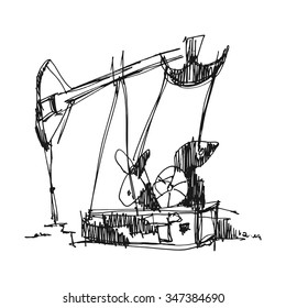 Hand drawn oil pump. Retro vector illustration. Freehand drawing with liner pen on paper.