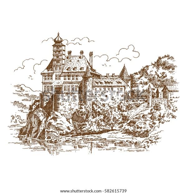 Hand drawn old Castle in Austria. Vector illustration.