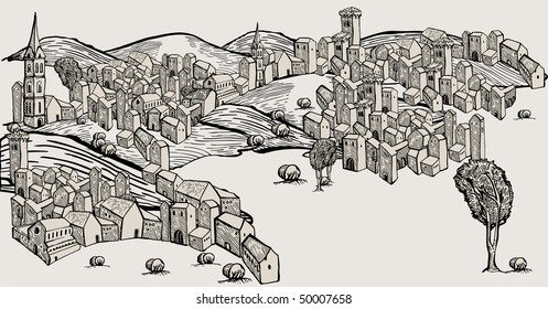 Hand drawn old city, ungroupable vector houses