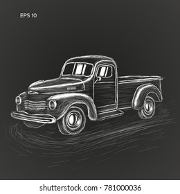 Hand drawn old farmer pickup truck vector illustration icon. Vintage transport vehicle. Chalk sketch style