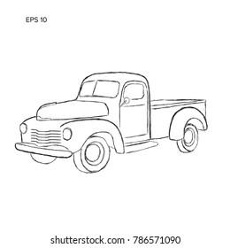Hand drawn old farmer pickup truck vector illustration icon. Vintage transport vehicle. Sketch style