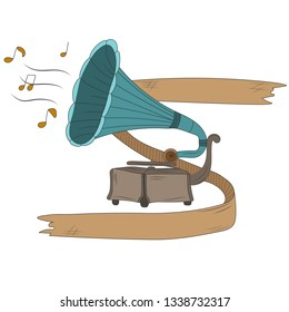 Hand drawn old gramophone isolated on white background. Vector illustration. Antique phonograph. Poster or t-shirt design.