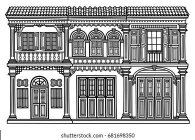 hand drawn old house. black and white illustration of a building.