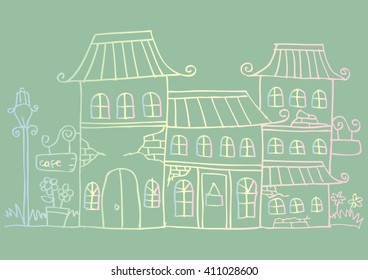 Hand drawn old houses, old town, sketch, doodles.