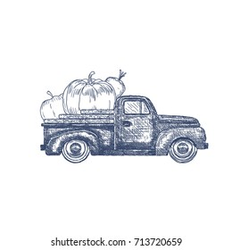Hand Drawn Old retro pick-up truck with Vegetables. Vector Illustration