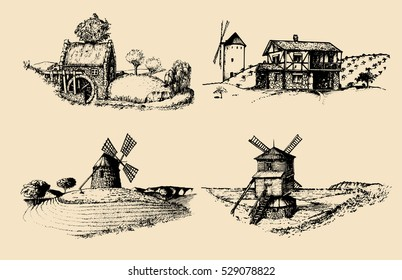 Hand drawn old rustic mills. Vector rural landscape illustrations set. European countryside sketches for posters or cards.