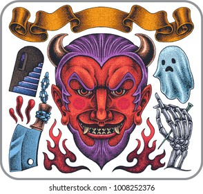 Hand drawn old school tattoo set of satan horrible smile theme.