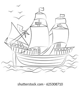 Hand Drawn Old Ship with Birds. Sketch Style. Vector Illustration.