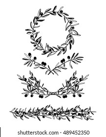 Hand drawn olive wreath, border and laurel graphic set made in vector. Beautiful floral design elements, ink drawing