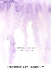 Hand drawn ombre texture. Watercolor painted light violet background with white space for text. Vector illustration for wedding, birhday, greetings cards, web, print, scrapbooking.