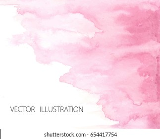 Hand drawn ombre texture. Watercolor painted light pink background with white space for text. Vector illustration for wedding, birthday, greetings cards, web, print, scrapbooking.