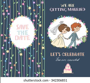 Hand drawn on the wedding elements. Wedding invitation cards with floral elements and bride and groom. Vector cards design. Wedding invitation, save the date. Vintage labels. Hand drawn ornaments.