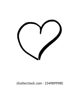Hand drawn one heart. Simple doodle style icon. Single, careless vector heart. Black isolated on a white background.
