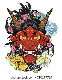 hand drawn Oni mask with cherry blossom and peony flower.Japanese demon mask on wave and sakura flower tattoo.