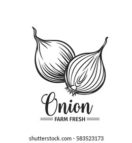 Hand drawn onion icon. Vector badge vegetable in the old ink style for brochures, banner, restaurant menu and market
