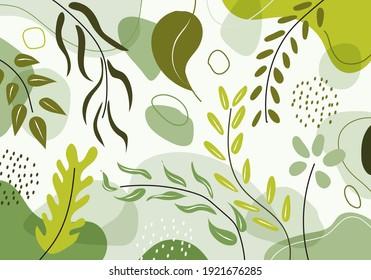 Hand drawn organic shapes green natural leaves, floral, line art pattern decoration element. Vector illustration