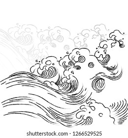 Hand drawn oriental Japanese great wave element pencil drawing style. Wave in the sea vector with Japanese vintage style.
