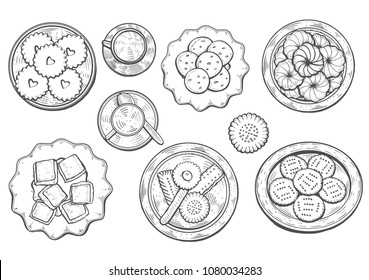 hand drawn. Oriental sweets vector illustration. Middle eastern food. Food menu background. top view. Monochrom design template.