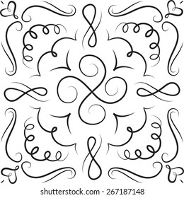 Hand drawn ornament black white