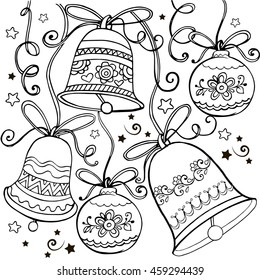 Hand drawn ornament with Christmas bells for the anti stress coloring page.