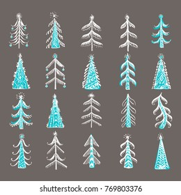 Hand drawn ornamental christmas trees set. Design element for festive background, card, gift tag design. Winter holidays and new year background.